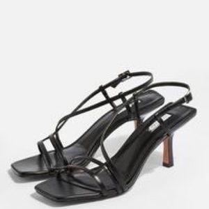 NWT Topshop Strippy Black Heeled Sandals size 7.5